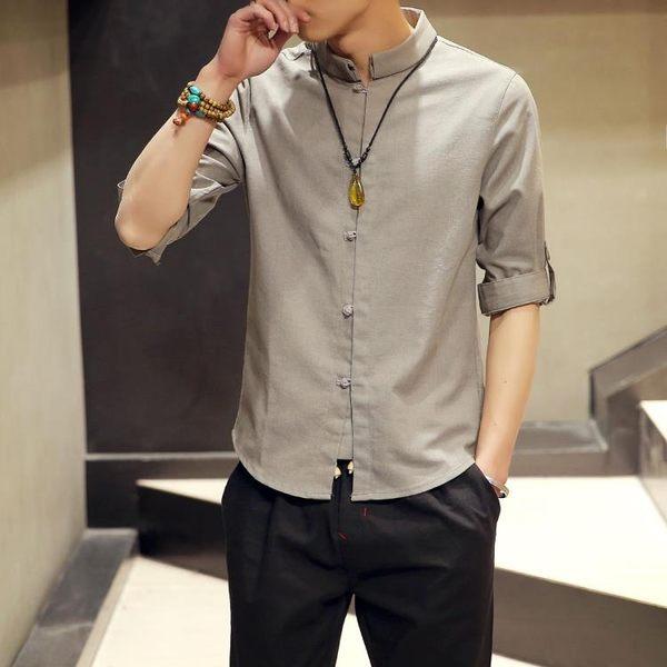 唐裝 大碼上衣夏短袖亞麻襯衫中國風男裝古七分袖盤扣中山唐裝棉麻襯衣 雙11