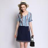 中大尺碼~時尚氣質短袖襯衫上衣百搭半身裙套裝(L~5XL)