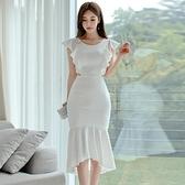 歐媛韓版 魚尾小禮服裙子平時可穿氣質洋裝 女神范性感露背修身包臀不規則連身裙  店慶降價
