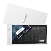 CalvinKlein  經典鐵牌LOGO鱷魚紋多卡長夾禮盒(黑色-含帕巾)103048