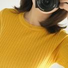 針織上衣 針織短袖女薄款打底衫春秋季新款中袖彈力修身毛衣T恤上衣薄 交換禮物