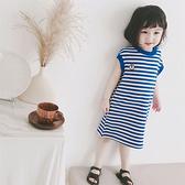 夏季新款 兒童休閒中長款洋裝 女童時尚藍條紋T恤裙5308 秋季新品