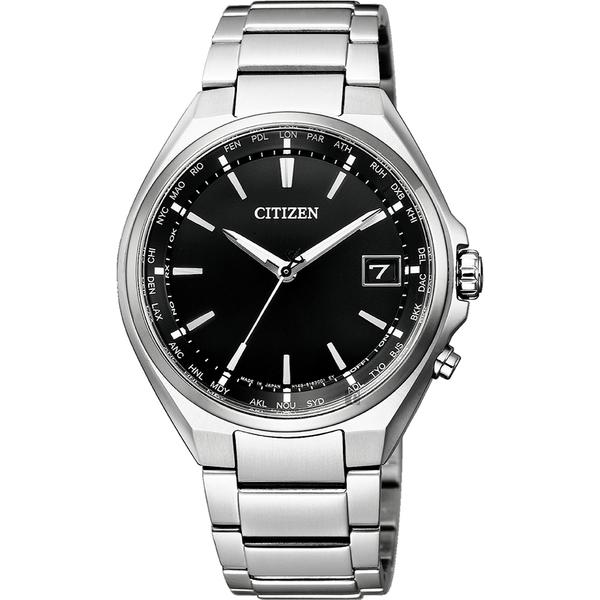 CITIZEN 星辰 鈦 光動能電波萬年曆手錶-黑x銀/38mm CB1120-50E