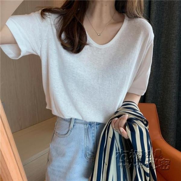 棉麻上衣 年夏季新款韓版竹節棉麻亞麻棉V領寬松白色短袖T恤女半袖上衣 衣櫥秘密