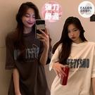 EASON SHOP(GQ0882)韓版簡約撞色字母印花合身貼肩圓領短袖素色棉T恤女上衣服打底顯瘦外搭大尺碼