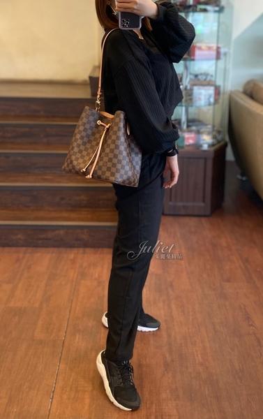 茱麗葉精品 二手精品【9.9成新】Louis Vuitton LV N40198 Neonoe 棋盤格紋肩斜兩用水桶包.粉紅#881