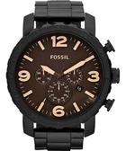 FOSSIL 大世紀戰神三眼計時腕錶/手錶-咖啡/IP黑 JR1356
