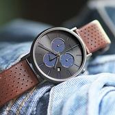 TIMEX 天美時 / TXTW2R80000 /  復刻三眼 INDIGLO專利冷光照明 計時 日期 真皮手錶 灰x咖啡 41mm