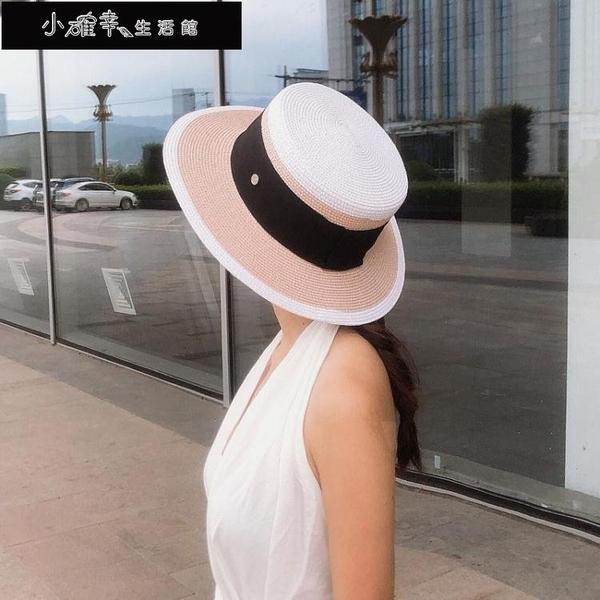 沙灘帽 同款法式沙灘帽 小沿小香風草帽遮陽太陽帽沙灘帽 女英倫風氣質 快速出貨