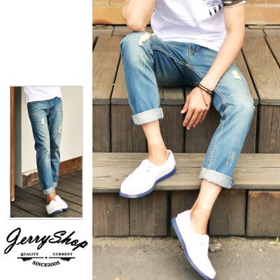 JerryShop【XX06919】美式水洗抓破古著牛仔褲九分褲(1色)slim 小直筒 非levis