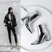 {丁果時尚}大尺碼女鞋34-42►2018秋冬歐美明星款俏麗漆皮尖頭高跟短靴子*3色