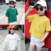 女童T恤 女童短袖T恤春夏裝新款韓版兒童圓領上衣打底衫  聖誕節下殺