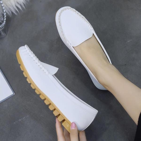 豆豆鞋女夏2021年新款平底單鞋百搭軟底孕婦舒適媽媽護士工作春秋 果果輕時尚