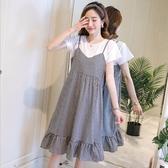 漂亮小媽咪 假二件洋裝 【D2139】 格紋 假兩件 拼接 背心裙 洋裝 孕婦洋裝 孕婦裝 吊帶裙