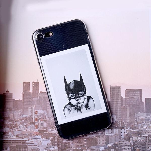 iPhone手機殼 可掛繩 蝙蝠俠面罩女孩胖嘟嘟 矽膠軟殼 蘋果iPhone7/iPhone6/iPhone5