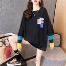 長袖t恤 寬版上衣 休閒衛衣M-2XL633474韓版寬松薄款貼布拼接袖子衛衣女NE416.依品國際