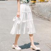 2018春夏新款韓版白色中長款百褶長裙雪紡紗半身裙 SG3832【雅居屋】