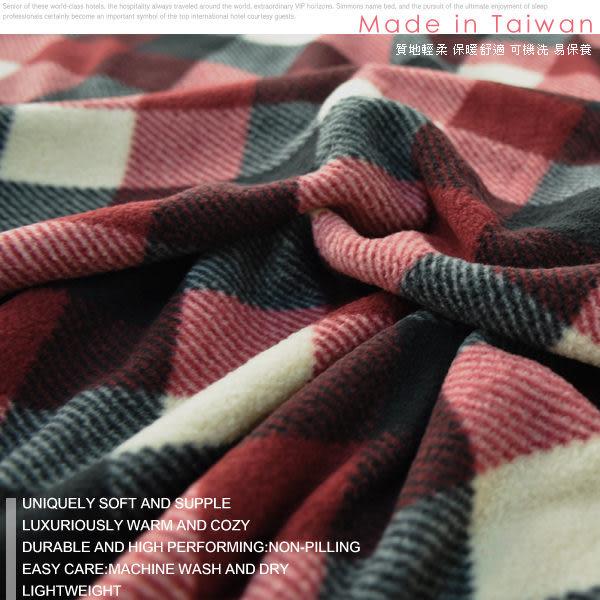 【安妮絲Annis】100%台灣製造、(紅黑方格)刷絨毛床包─雙人5x6.2尺、溫暖好舒眠/磨毛舒絨床包保暖