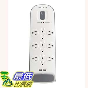 [7美國直購] Belkin BV112050-06 插座 12-Outlet Surge Protector Power Strip with 2 USB Ports / 6-Foot 延長線