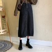 洋裝裙牛仔半身裙女秋冬新款韓版寬鬆高腰a型港味復古中長款一步裙 易家樂