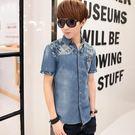 牛仔襯衫短袖夏季新款襯衣修身韓版薄款休閒青少年外套潮流 QQ24270『bad boy』