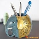 樹脂筆筒大象工藝品桌面擺件多功能收納盒禮物化妝刷桶【小獅子】