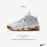 IMPACT Nike Air More Uptempo GS 大AIR 白 水藍 膠底 女還必備 415082-107