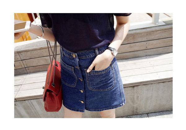 (全館一件免運)DE SHOP~韓國排扣高腰顯瘦A字牛仔裙短裙。【A-179】