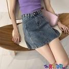 牛仔短裙 半身裙女夏年新款韓版高腰顯瘦A字包臀裙學生牛仔裙短裙寶貝計畫 上新