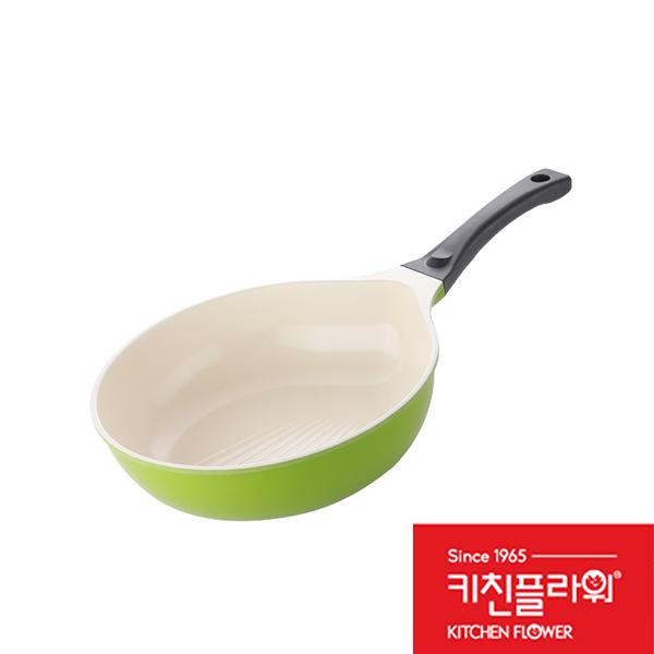 韓國 Kitchen Flower 馬卡龍陶瓷貝殼深炒鍋 28cm 瓦斯爐 電陶爐 鹵素爐 適用