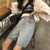 直筒五分牛仔褲女春季新款寬鬆牛仔短褲韓版學生高腰顯瘦中褲「爆米花」