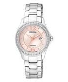 CITIZEN 光動能美麗境界晶鑽腕錶-粉/30mm FE1140-51X