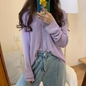 長袖T恤 夏季新款寬松紫色防曬針織開衫長袖T恤女薄款打底衫bm上衣【快速出貨】