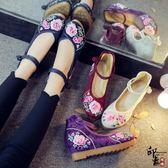 復古中國風刺繡繡花鞋漢服鞋女內增高跟牛筋底布鞋女單鞋【萬聖節推薦】