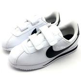 《7+1童鞋》中童 NIKE  Cortez Basic SL PSV 阿甘 黑白 黑勾 魔鬼氈 慢跑鞋 F826 黑色