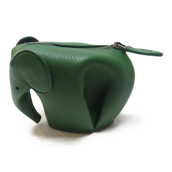 LOEWE 羅威 綠色牛皮大象零錢包 Elephant Coin Purse【二手名牌 BRAND OFF】
