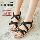 [Here Shoes]涼鞋-跟高2CM 小坡跟涼拖鞋 純色百搭 交叉鞋面 編織壓紋鞋底─AWA-882