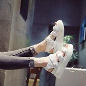 鬆糕厚底涼鞋 學生時尚魔術貼羅馬坡跟涼鞋【多多鞋包店】z7926
