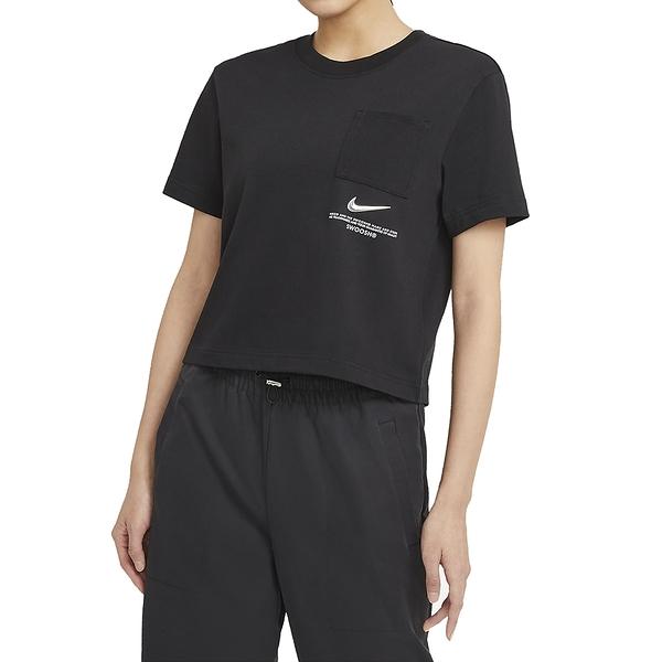 NIKE NSW SWSH SS TOP 黑 女 短版 口袋 休閒 短袖T恤 CZ8912010