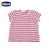 chicco-To Be Baby-短袖有領上衣-紅白條紋