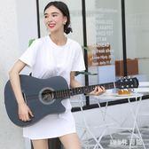 吉他 初學者男女學生用練習琴樂器新手入門吉它38吋民謠木吉他易學LB16181【123休閒館】