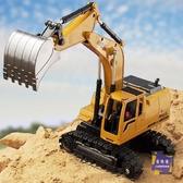 遙控玩具 遙控挖掘機合金遙控挖土機兒童玩具電動工程車男孩模型汽車鉤勾機T