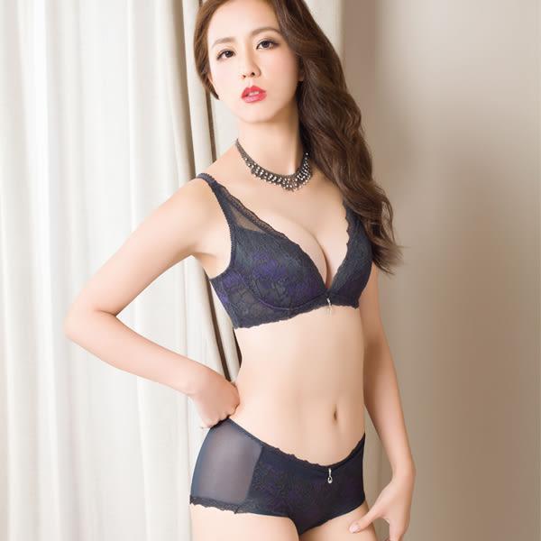 思薇爾-慕思花影系列M-XL蕾絲中低腰平口內褲(黑檀灰)