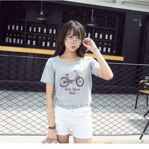 現貨+快速★短袖T恤 自行車印花棉質上衣 ★ifairies【40353】