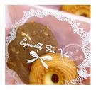 幸福朵朵【自黏OPP包裝袋(禮物包裝.烘焙點心包裝)-F.橘粉底蕾絲花邊款x10枚】西點糖果餅乾