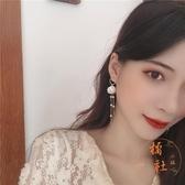 韓國氣質簡約珍珠花瓣流蘇耳釘甜美超仙少女耳環【橘社小鎮】
