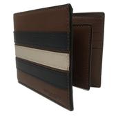 【COACH】 橫紋 8卡對折短夾附活動證件夾(米藍橫紋咖)