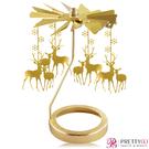O Pretty 歐沛媞 歐式旋轉燭罩蠟燭台(金)-兩隻小鹿 限量加贈YANKEE CANDLE 香氛蠟燭【美麗購】