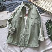 春季港風拼色襯衫男情侶小清新長袖寸衫bf風寬鬆文藝格子襯衣外套