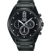 廣告款 ALBA 雅柏 東京日系三眼計時手錶-鍍黑/42mm VD53-X264SD(AT3B07X1)
